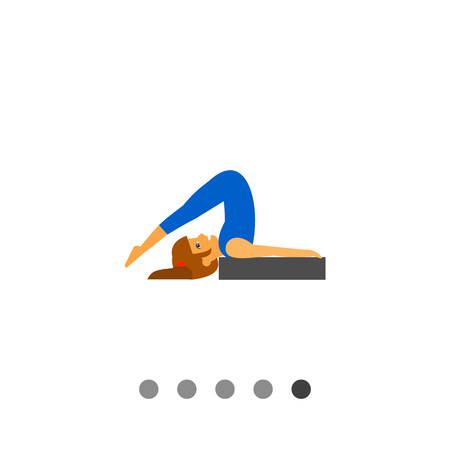 Multicolored vector icon of woman doing yoga in halasana pose, side view