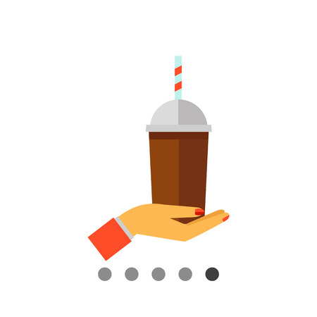 Icon of cartoon woman hand holding plastic cup of iced coffee with stripped tube