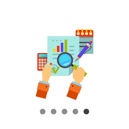 Multicolored vector icon of hands holding magnifier in front of document, notebook, calculator, pen Illustration