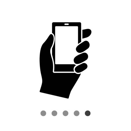 ring finger: Monochrome vector icon of hand holding smartphone Illustration