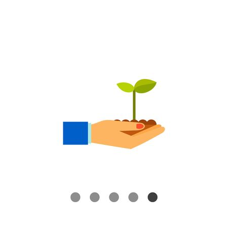 hands holding plant: Multicolored vector icon of hands holding plant sprout growing in soil