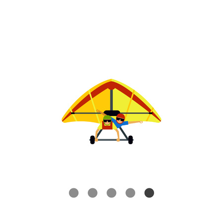 Multicolored flat icon of hang glider with two male gliders