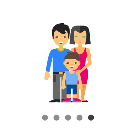 husband and wife: Multicolored vector icon of family of husband, wife and their son in front of them Illustration