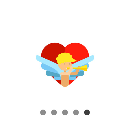 amour: Multicolored flat icon of amour playing the trumpet on red heart background