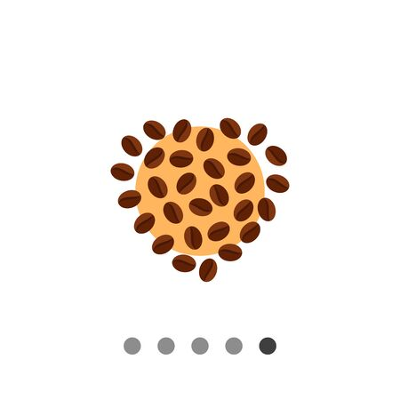 vivacity: Icon of roasted coffee beans in shape of heart on beige circle