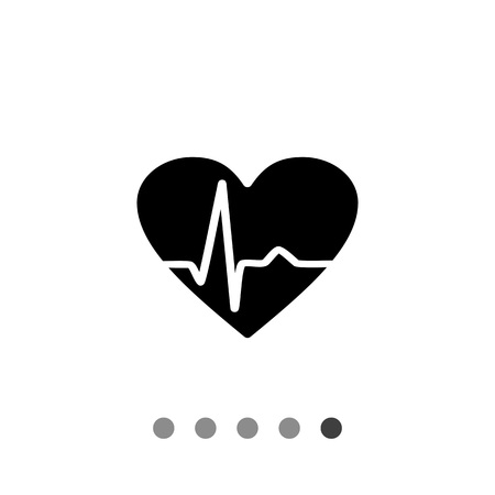 heartbeat line: Heartbeat rate simple icon. Vector illustration of heart with heartbeat line graph Illustration