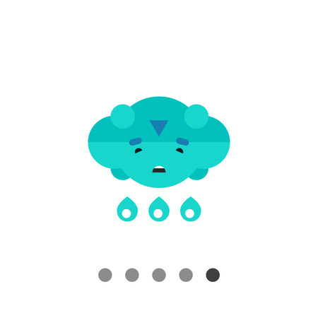 heavy rain: Multicolored vector icon of cloud with sad face and heavy rain