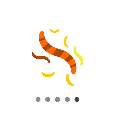 lombriz de tierra: icono de vectores multicolor de helmintos rayados, amarillos y naranjas