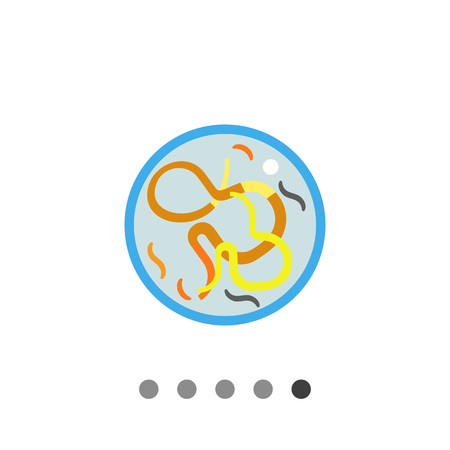 Multicolored vector icon of helminthes in petri dish Illustration