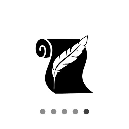 Monochrome vector icon of paper scroll and quill representing history Illustration