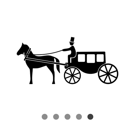 brougham: Monochrome vector icon of horse