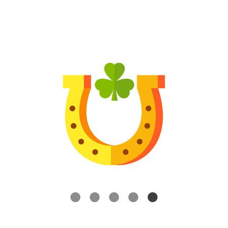 trifolium: Multicolored vector icon of horseshoe with leaf of trefoil inside Illustration