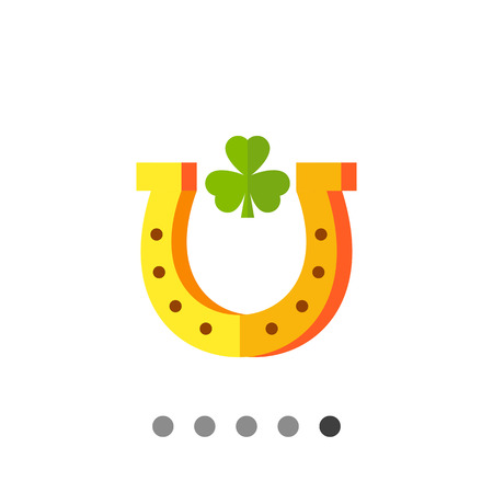 Multicolored vector icon of horseshoe with leaf of trefoil inside Illustration
