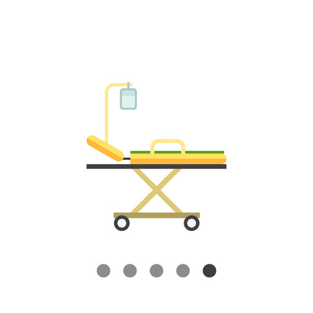 hospital stretcher: Multicolored vector icon of hospital stretcher bed with intravenous infusion drip Illustration