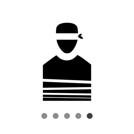 Hostage flat icon. Vector minimalistic illustration of tied person with blindfold