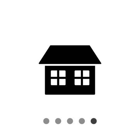 habitation: Monochrome vector icon of one-storied simple house with two windows and roof