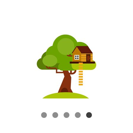 House on tree with ladder. Childhood, home, shelter. House concept. Can be used for topics like construction, childhood, architecture. Illustration