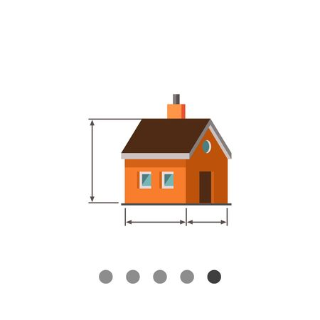 dimension: Multicolored vector icon of house scheme with dimension lines