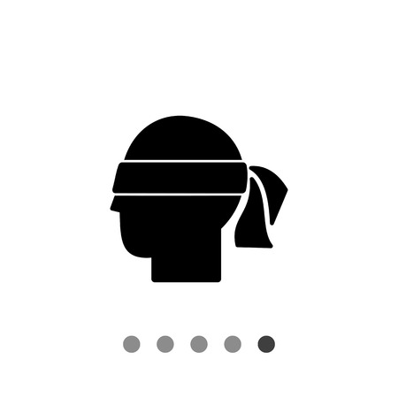 blindfold: Head with blindfold. Hunch, intuition, premonition, suspicion. Hunch concept. Can be used for topics like communication, psychology, personality