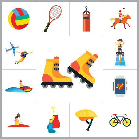 water skiing: Active Sport Icon Set. Volleyball Tennis Racket Punchbag Horseracing Parachute Jump Flyboard Smartwatch Bicycle Helmet Boxing Gloves Canoeing Rollerblading Jet Skiing