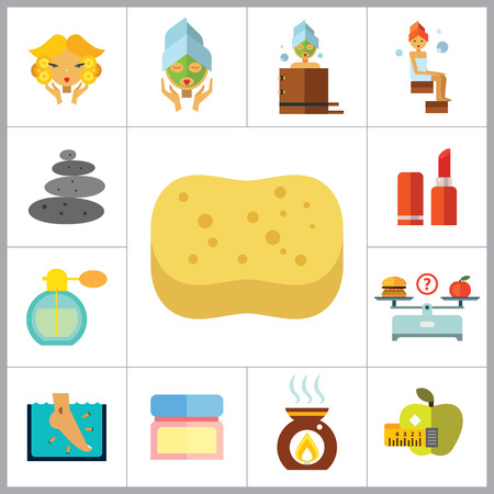 aroma therapy: Beauty Icon Set. Woman With Curls Diet Concept Aroma Lamp Face Cream Fish Peeling Products On Scales Lipstick Sponge Stone Therapy Perfume Woman With Mudpack On Face Woman In Bath Woman In Steamroom Illustration