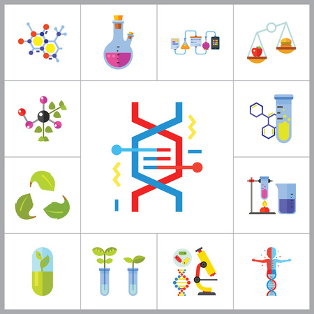chemical experiment: Biology Icon Set. Cell Structure Flask Test Tube Products On Scales Heating Test Tube Human Genome Molecule Genetically Modified Plants DNA Herbal Capsule Chemical Experiment Creative Recycling Sign