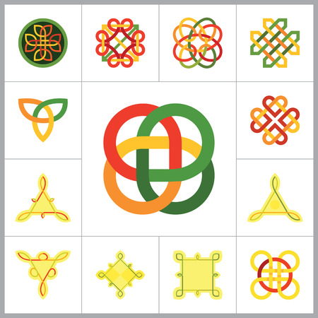 auspicious sign: Celtic Ornament Icon Set. Infinite Knot Endless Knot Eternal Knot Buddhist Symbol Decorative Knot Ornament Celtic Knot Celtic Symbol Celtic Element Celtic Sign Triqueta Celtic Shield Quaternary Knot