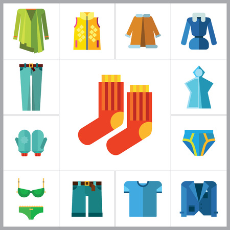 denim jacket: Clothes Icon Set. T-shirt Socks Mittens Male Underpants Rain Poncho Female Underwear Denim Shorts Jeans Jacket Coat Green Clothing Item Waistcoat