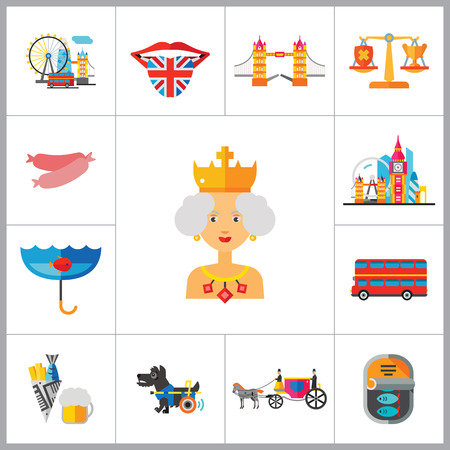 doubledecker: England Icons Set. United Kingdom English Language Fish And Chips Dog London Bus Coach Horse London Rain Canned Fish Sausages Scales London Tower Bridge Queen Illustration