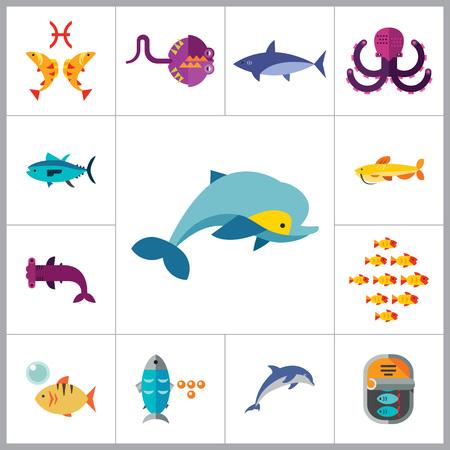 catfish: Fish Icon Set. Pieces Octopus Dolphin Shark Catfish Canned Fish Tuna Fish Shoal Caviar Hammerhead Fish Sea Skate Goldfish