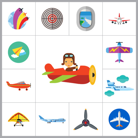 show window: Plane Icon Set. Air Show Paper Plane Flying Plane Airplane Propeller Big Plane Jet Plane Kids Plane Light Plane Old Plane Target Plane Window Airplane Front View Hang-glider Illustration