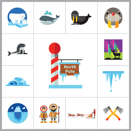 eskimo dog: North Pole Icon Set. Polar Bears Dogteam Eskimos North Lights North Pole Igloo Lumberjack Axes Iceberg Whale Walrus Ice Walrus Face Sea Calf