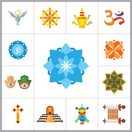 amulet: Religion vector icons set with Om sign, Hamsa amulet and Holy Spirit dove. Thirteen flat icons