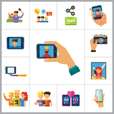 group travel: Selfie Icon Set. Dating Selfie Group Selfie Mirror Monopod Selfie Travel Selfie Smartphone Selfie Tablet Photo Camera Hand With Smartphone Social Media Chatting