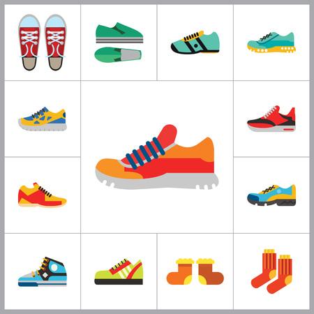 shoelaces: Shoes Icon Set. Sneakers Summer Shoes Sport Shoe Trainer Jogging Shoe Gymshoe Running Shoe Football Shoe Basketball Shoe Socks Valenki Plimsoll