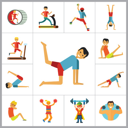 sportsmen: Sportsman vector icons set. Thirteen icons of running man, rock climber, bodybuilder and other sportsmen Illustration