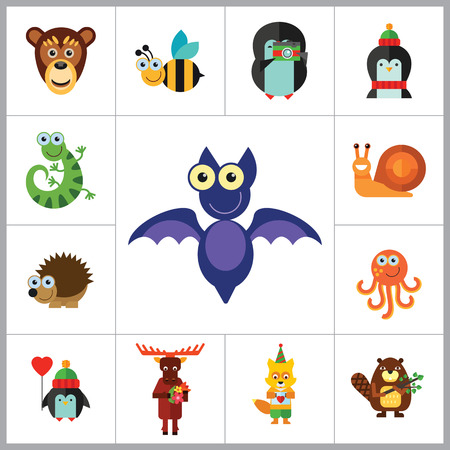 flying monkey: Funny Animals Icon Set. Monkey Face Funny Bee Bat Octopus Snail Penguin With Heart Balloon Penguin With Camera Funny Lizard Cartoon Hedgehog Cute Fox Moose With Flowers Penguin Beaver With Twig