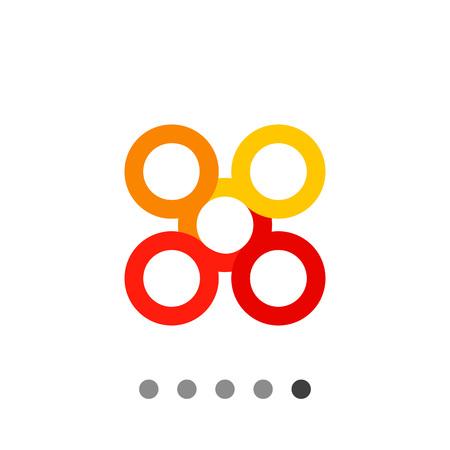 and auspicious: Multicolored vector icon of infinite knot, one of eight auspicious symbols