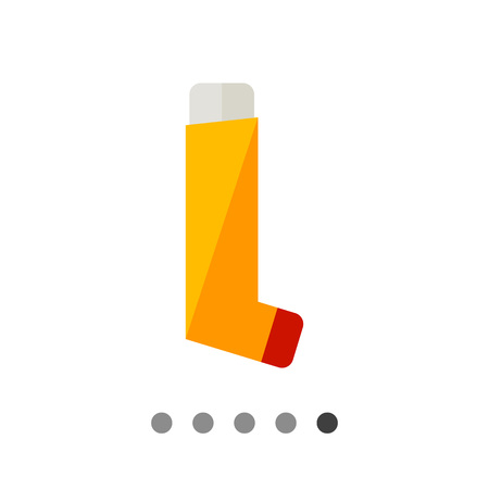 inhaler: Multicolored flat icon of orange inhaler for asthmatics