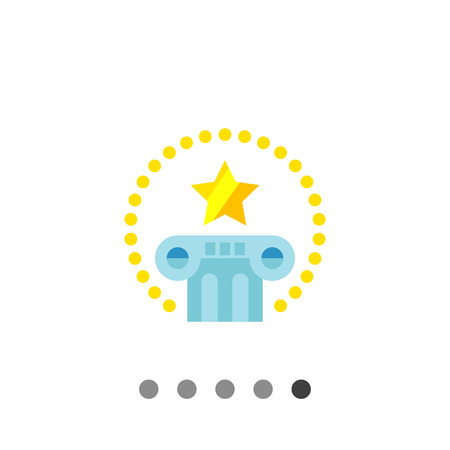 Multicolored vector icon of pillar with star above and circle of dots around representing international law Illustration