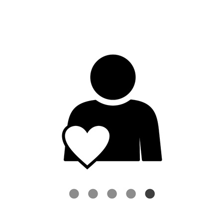 participation: Person with heart symbol. Involvement, engagement, participation. Involvement concept. Can be used for topics like network, business, work Illustration