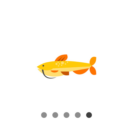 barbel: Multicolored vector icon of isolated catfish, side view