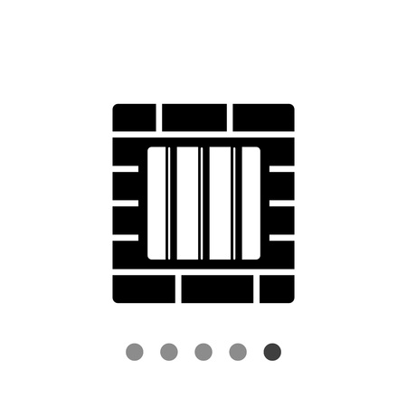window bars: Monochrome vector icon of brick wall and window with prison bars representing jail