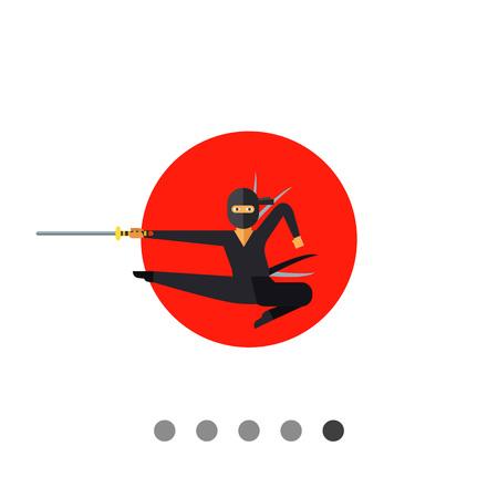 swordsman: Image of jumping Japanese ninja with katana on background of red sun