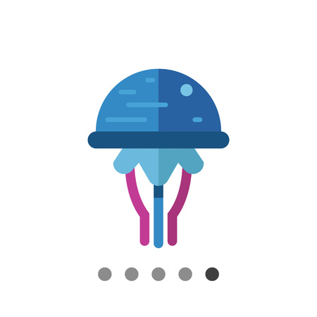 Multicolored vector icon of blue cartoon jellyfish