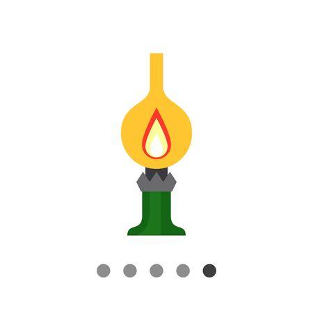Icon of kerosene lamp with flame inside