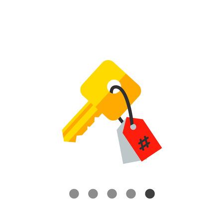 keyword: Keywording vector icon. Multicolored illustration of key with tag symbolizing keyword Illustration