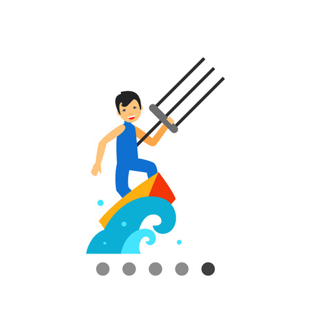 kite surf: Multicolored vector icon of smiling kite surfer surfing on board in sea