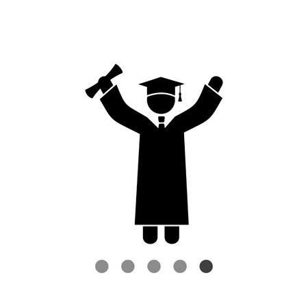 Graduate in graduation cap cheering. Happy, degree, success. Knowledge concept. Can be used for topics like education, teaching, study. Ilustração