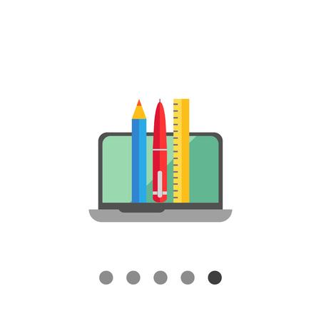 ball pens stationery: Icono de la computadora port�til abierta, l�piz, pluma y regla Vectores